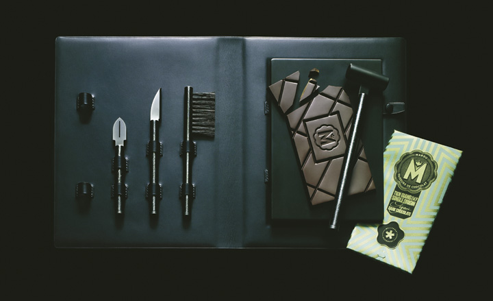 Entertaining tool set by Jacques-Elie Ribeyron and Architectural Titanium; and Wallpaper* chocolate, by Marou and Rice Creative