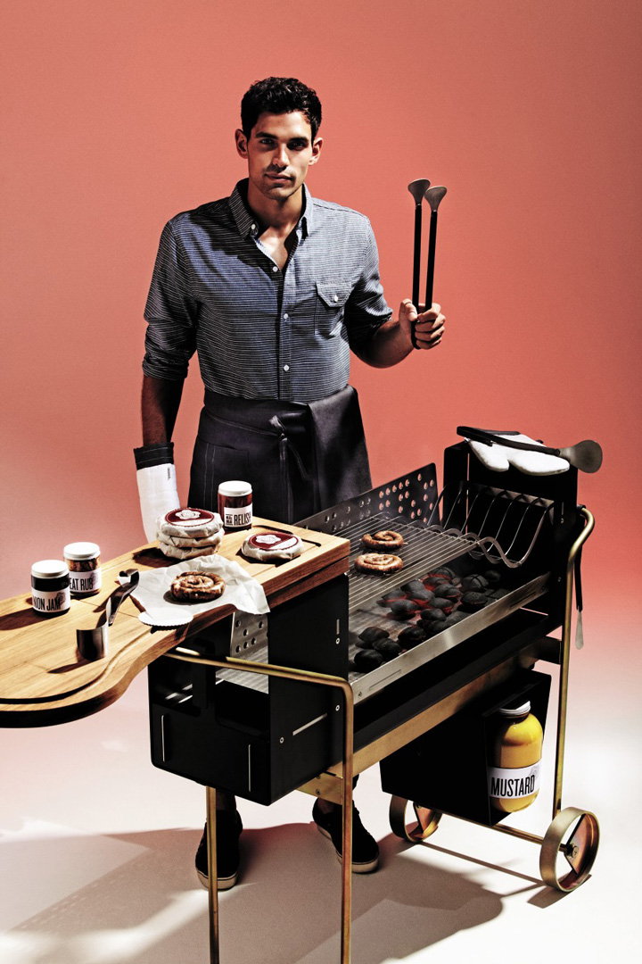 Barbecue and tools by Alfredo Häberli and Kim Stahlmöbel; Chorizo criollo by Diego Jacquet of Zoilo; Barbecue condiments by Meat & Bread and Glasfurd & Walker; and Barbecue apron, tea towel and oven gloves, by Alfred