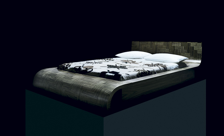 'Mantra' bed cover by Madeline Weinrib and 'Parq Life' bed by Lee Broom and Deadgood