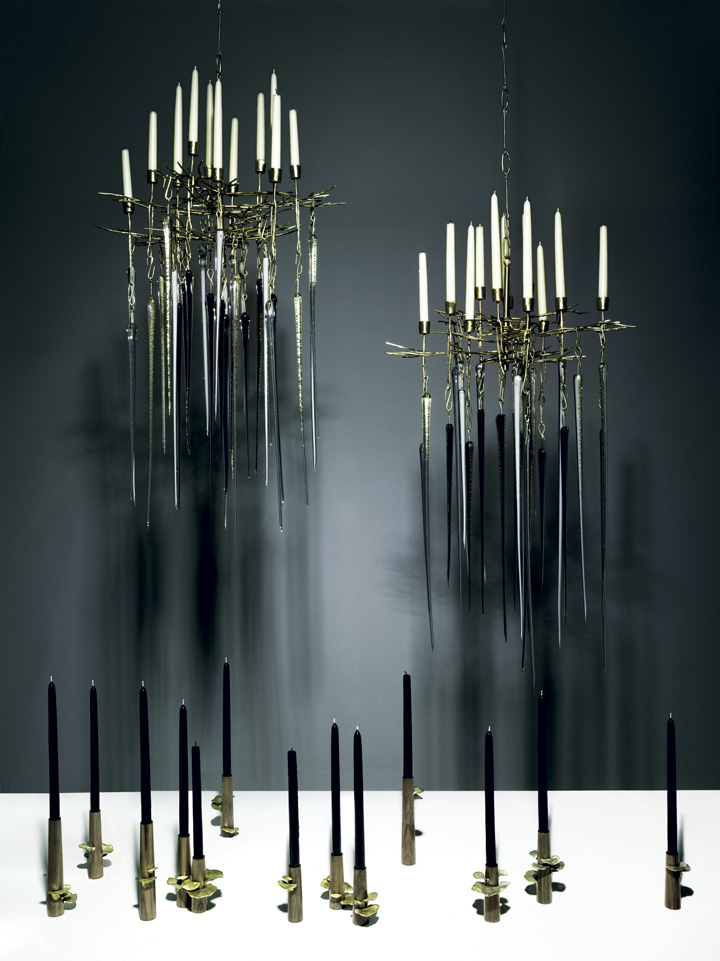 Glass 'Icicle' chandelier and bronze 'Fungus' candlesticks by Lindsey Adelman