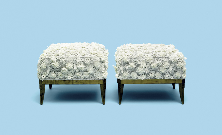 Crocheted footstools by David Collins Studio